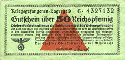Banknotes Allemagne. Camps allemands de prisonniers de guerre 1939-1945. Billet. 50 pfennig