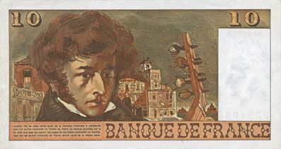 Banknotes Banque de France. Billet. 10 francs, Berlioz, 2.6.1977