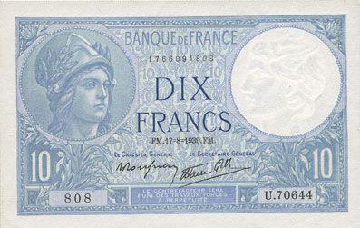 Banknotes Banque de France. Billet. 10 francs Minerve, 17.8.1939