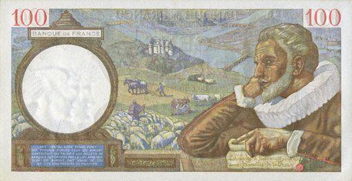 Banknotes Banque de France. Billet. 100 francs Sully, 5.12.1940
