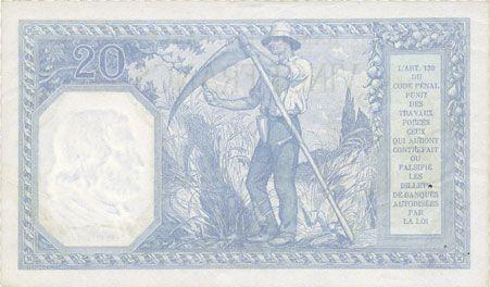 Banknotes Banque de France. Billet. 20 francs Bayard, 8.2.1919