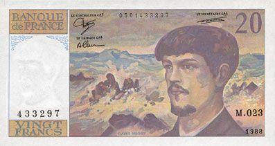 Banknotes Banque de France. Billet. 20 francs, Debussy, 1988