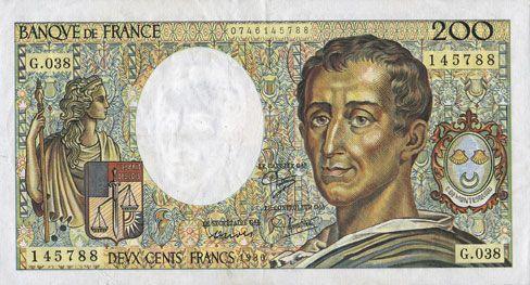 Banknotes Banque de France. Billet. 200 francs (Montesquieu), 1986