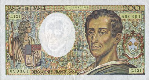 Banknotes Banque de France. Billet. 200 francs (Montesquieu), 1992