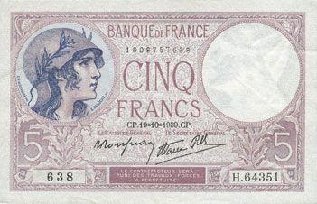 Banknotes Banque de France. Billet. 5 francs violet, 19.10.1939, modifié