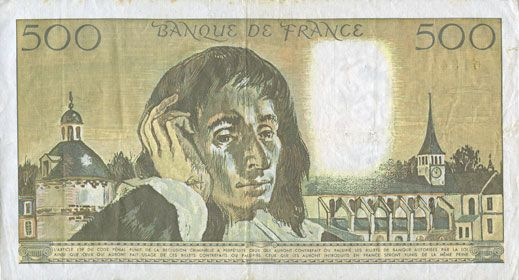 Banknotes Banque de France. Billet. 500 francs (Pascal) 2.5.1991