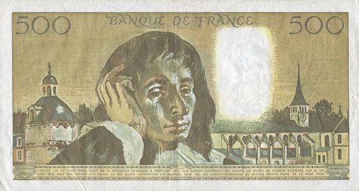 Banknotes Banque de France. Billet. 500 francs (Pascal) 3.1.1991