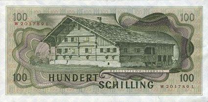 Banknotes Autriche. Banque Nationale autrichienne. Billet. 100 schilling. 2.1.1969