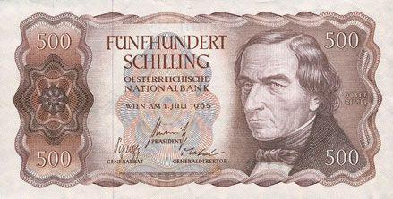 Banknotes Autriche. Banque Nationale autrichienne. Billet. 500 schilling 1.7.1965