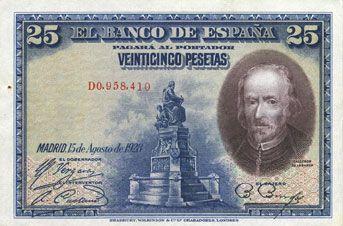 Banknotes Espagne. Banque d'Espagne. Billet. 25 pesetas 15.8.1928