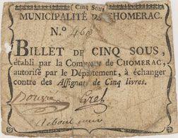 Banknotes Chomerac. Billet de 5 sous n. d.