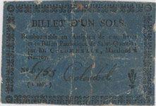 Banknotes Nauroy. Etablissements Colombelle. Billet de 1 sol  n. d.