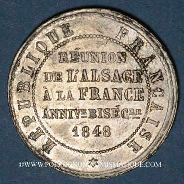 Coins 2e centenaire de la Réunion de l'Alsace à la France (traité de Westphalie). 1848. Médaille en étain