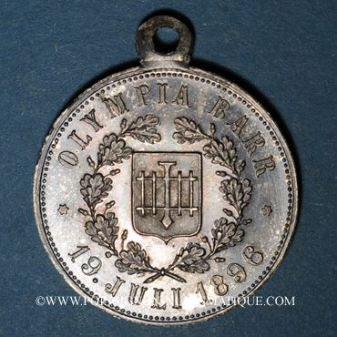 Coins Alsace. Barr. Olympia Barr. 1896. Médaille laiton argenté, avec œillet