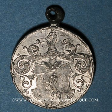 Coins Alsace. Bischheim. Alsatia Bischheim. 1894. Médaille plomb, avec œillet