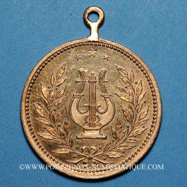 Coins Alsace. Brunstatt. 50e anniversaire de la chorale Caecilia. 1907. Médaille bronze doré. Avec œillet