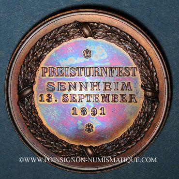 Coins Alsace. Cernay. Tournoi de gymnastique. 1891. Médaille bronze.