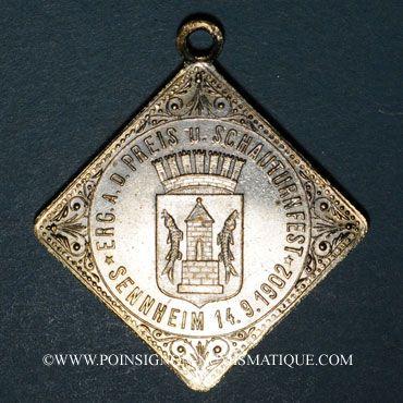 Coins Alsace. Cernay. Tournoi de gymnastique. 1902. Médaille laiton argenté