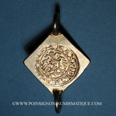 Coins Alsace. Colmar. 2 kreuzer-klippe 1574, à la titulature de Maximilien II (1564-1576)