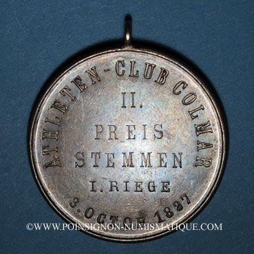 Coins Alsace. Colmar. Club athlétique de Colmar. 1897. 2e prix de soulever. Médaille argent. 39,67 mm