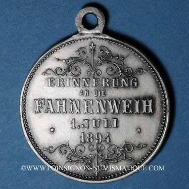 Coins Alsace. Kingersheim. Chorale Caecilia - Consécration du drapeau. 1894. Médaille bronze argenté