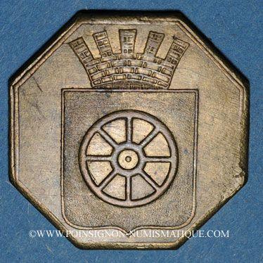 Coins Alsace. Molsheim. 1ère Foire. 1852. Jeton laiton octogonal. 28,6 X 28,8 mm