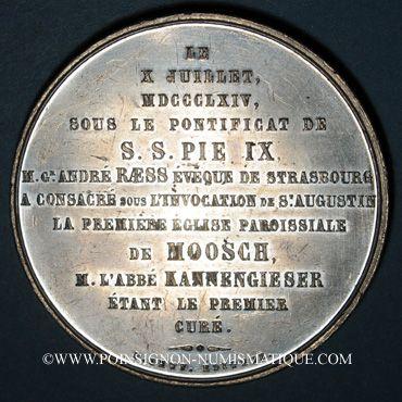 Coins Alsace. Moosch. Consécration de l'église St Augustin. 1864. Médaille étain. 51 mm