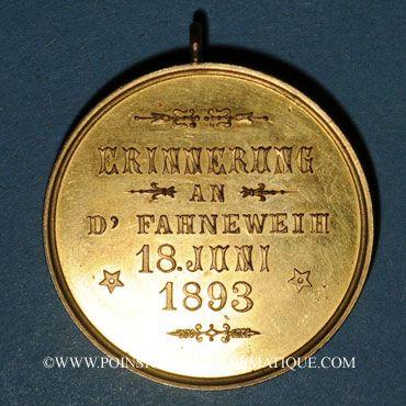 Coins Alsace. Morschwiller le Bas. Chorale Ste Caecilia Consécration drapeau. 1893. Médaille bronze doré