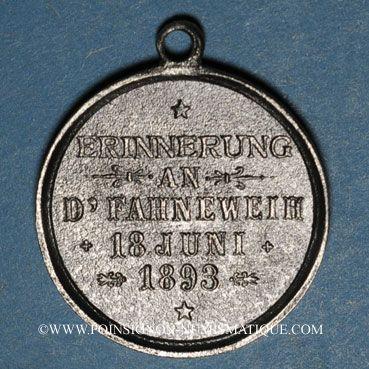 Coins Alsace. Morschwiller le Bas. Chorale Ste Caecilia Consécration drapeau. 1893. Médaille étain