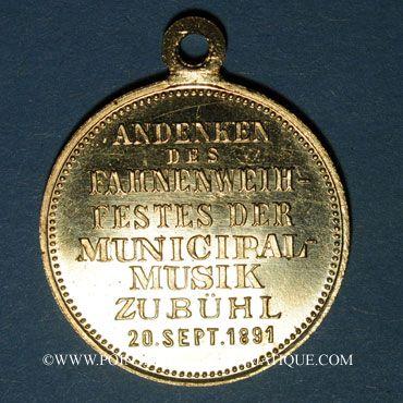 Coins Bühl. Fête de la consécration du drapeau de la Musique Municipale de Bühl. 1891. Laiton. 28,83 mm