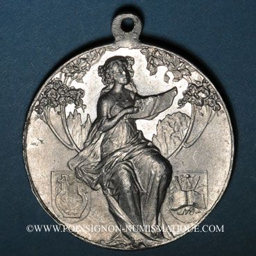 Coins Colmar. 6e rencontre  des chorales d'Alsace-Lorraine. 1910. Aluminium. 36,40 mm, avec son anneau