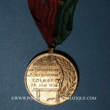 Coins Colmar. 6e tournoi de gymnastique d'Alsace-Lorraine. 1903. Médaille bronze doré