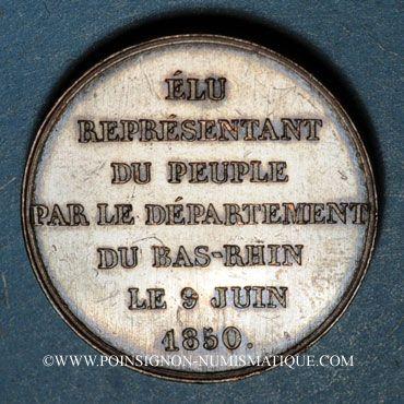 Coins Emile de Girardin, député du Bas-Rhin. 1850. Cuivre. 25,13 mm. Gravée par A. Borrel.