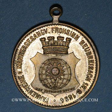 Coins Neuf-Brisach. Bénédiction du drapeau du cercle masculin des chanteurs «Frohsinn». 1894. Médaille