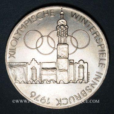 Coins Autriche. République. 100 schilling (1975). Immeuble et anneaux olympiques - Aigle