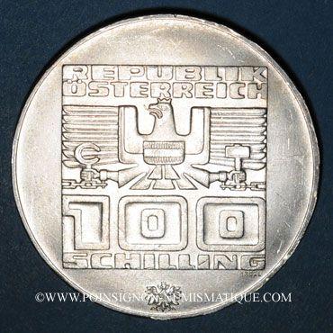 Coins Autriche. République. 100 schilling (1975). Jeux olympiques d'hiver d'Innsbruck. Skieur - Aigle