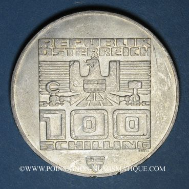 Coins Autriche. République. 100 schilling (1976). Jeux olympiques d'hiver d'Innsbruck. Tremplin - aigle