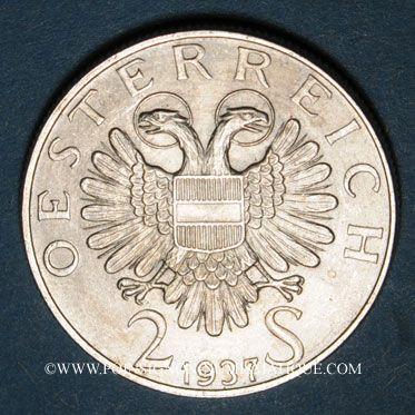 Coins Autriche. République. 2 schilling 1937. Fischer von Erlach