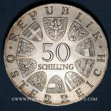 Coins Autriche. République. 50 schilling 1967. 100e anniversaire de la valse Le Beau Danube Bleu