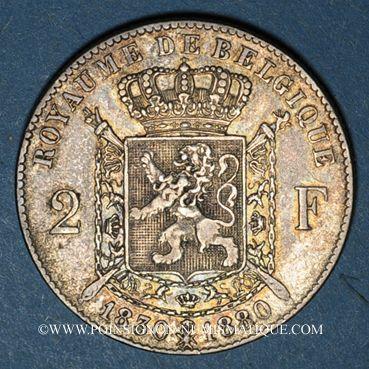Coins Belgique. Léopold II (1865-1909). 2 francs 1880. Type du cinquantenaire