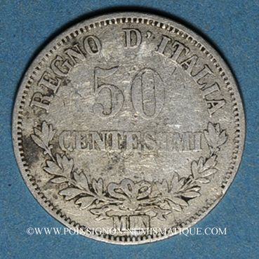 Coins Italie. Victor Emmanuel II (1861-1878). 50 centésimi 1867M. Milan