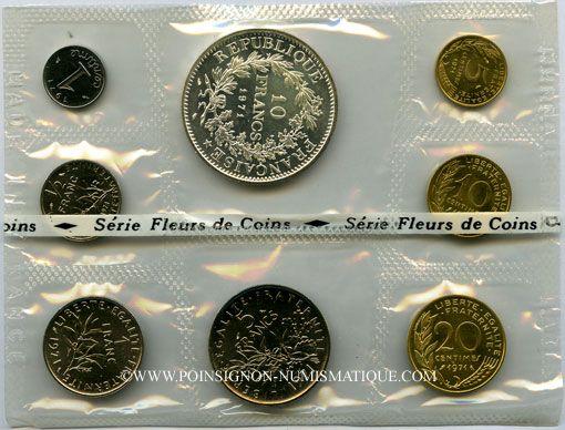 Coins 5e république (1959-). Série FDC 1971