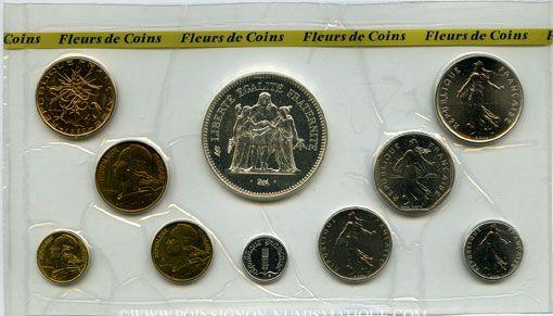 Coins 5e république (1959- ). Série FDC 1980