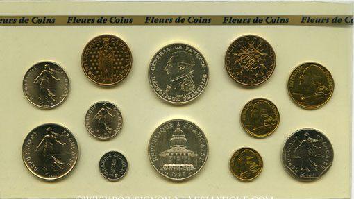Coins 5e république (1959- ). Série FDC 1987