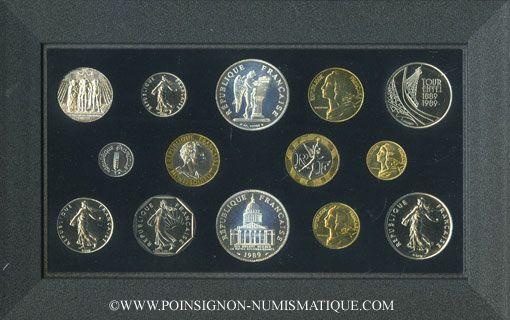 Coins 5e république (1959-). Série FDC 1989 B.E.