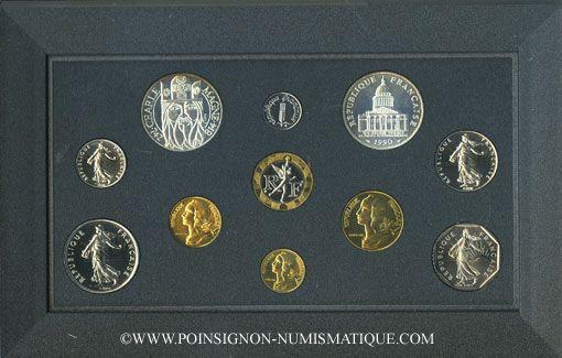 Coins 5e république (1959-). Série FDC 1990