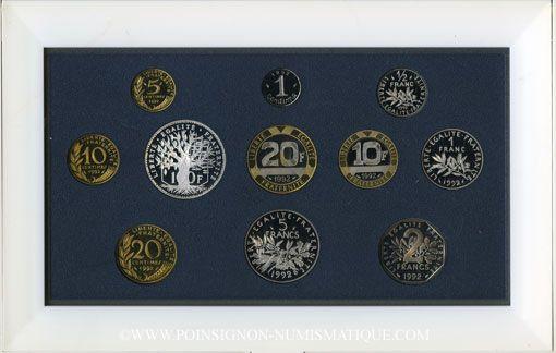 Coins 5e république (1959-). Série FDC 1992 B.E.