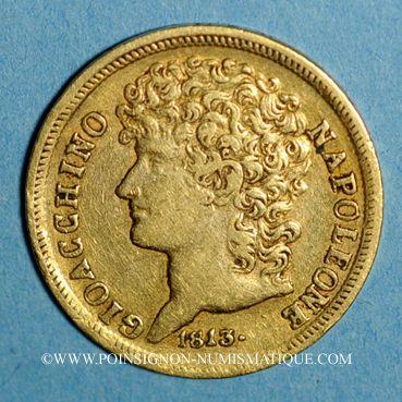 Coins Italie. Roy. de Naples & Deux Siciles. Joachim Murat (1808-1815). 20 lire 1813 (PTL 900‰. 6,45 g)