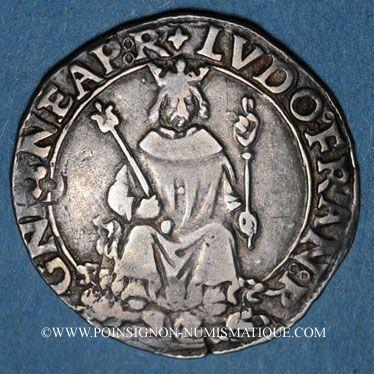 Coins Louis XII (1498-1514). Monnaies frappées en Italie. Carlin d'argent Naples (1501-1504)