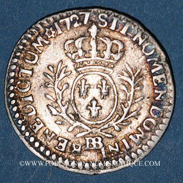 Coins Louis XV (1715-1774). 1/20 écu daux lauriers 1727 BB. Strasbourg